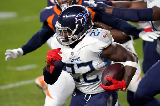 Tennessee Titans running back Derrick Henry (22) runs during the first half of an NFL football game against the Denver Broncos, Monday, Sept. 14, 2020, in Denver. (AP Photo/David Zalubowski)
