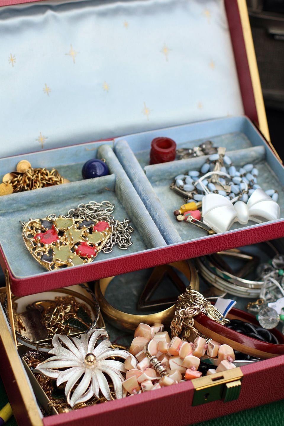"<p>We're not talking about valuable gems and jewelry made from precious metals, but the cheaper pieces that are usually <a href=""https://www.goodhousekeeping.com/home/cleaning/a37670/mistakes-ruining-your-jewelry/"" rel=""nofollow noopener"" target=""_blank"" data-ylk=""slk:made of plastic"" class=""link rapid-noclick-resp"">made of plastic</a>. Maybe it was a gift. Maybe it was a bargain too good to pass up. But if you don't wear it, send it off to the donation pile.</p>"