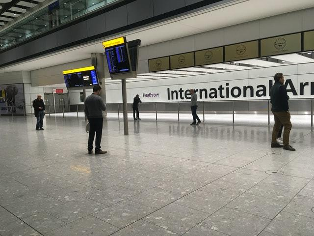 The empty arrivals concourse at Terminal 5 of Heathrow airport