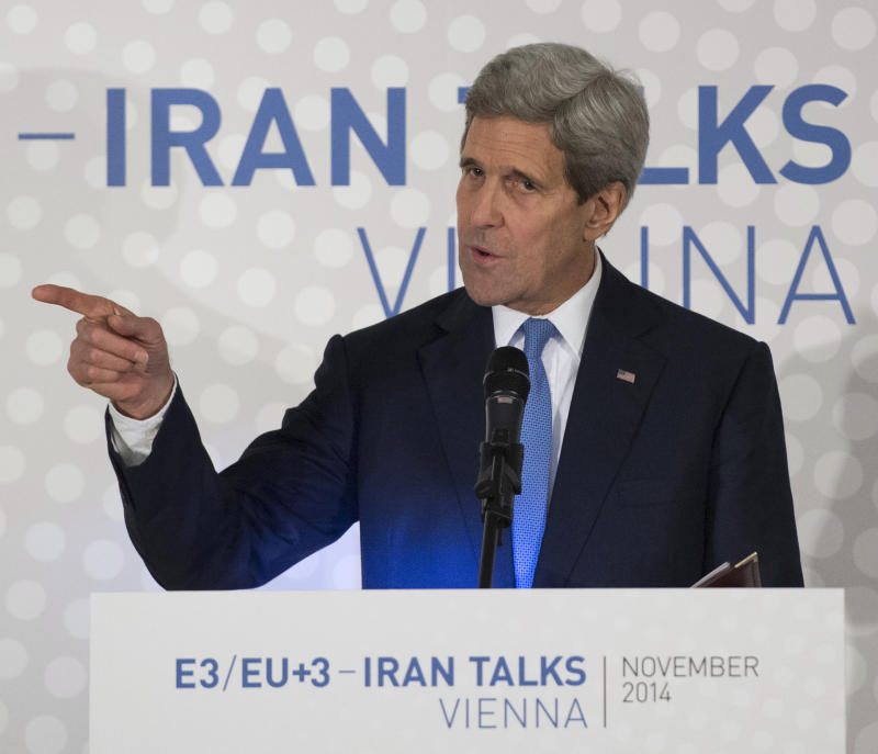 US Secretary of State John Kerry delivers a statement on the status of negotiations over Iran's nuclear program before leaving Vienna on November 24, 2014