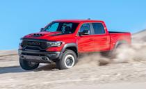 <p>Hold onto your butts, this 702-hp pickup is a supercharged off-roader that can jump high enough to escape Jurassic Park. The Ram 1500 TRX starts at around $72,000, but no matter how it's optioned, it arrives 3.3-inches taller than the normal Ram 1500. This half-ton Hellcat comes standard with 35-inch tires wrapped around 18-inch wheels, or a beadlock-capable option, that give the TRX 11.8 inches of ground clearance. We hit 60 mph in just 3.7 seconds, making it the quickest truck we've ever tested. The TRX can tow up to 8100 pounds (100 more than the F-150 Raptor), and gets an EPA-estimated combined 12 mpg, making it the least fuel-efficient pickup you can buy today. Those wishing to risk it all can option the truck with two 103-pound spare wheel-and-tire assemblies, with one mounted inside the bed.</p>