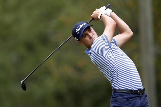 Justin Thomas hits from the fifth tee during the final round of the Tour Championship golf tournament Sunday, Aug. 25, 2019, at East Lake Golf Club in Atlanta. (AP Photo/John Bazemore)