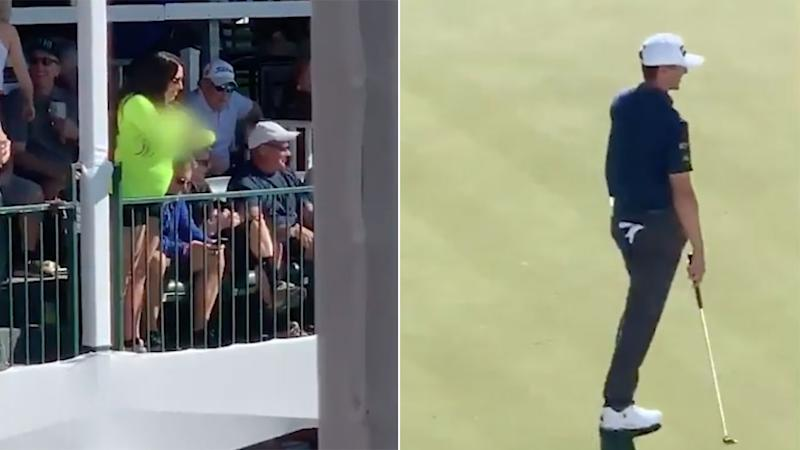 The flashing fan in Phoenix made putting on the 16th green a tricky proposition. Pic: Fox Sports
