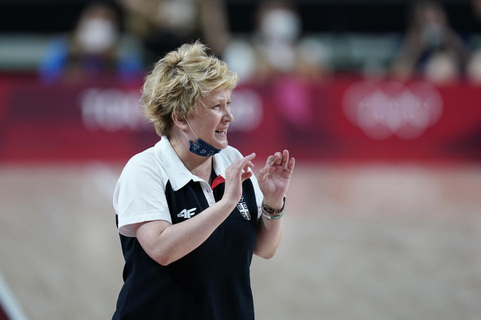 Serbia coach Marina Maljkovic directs her team during a women's basketball quarterfinal round game against China at the 2020 Summer Olympics, Wednesday, Aug. 4, 2021, in Saitama, Japan. (AP Photo/Charlie Neibergall)