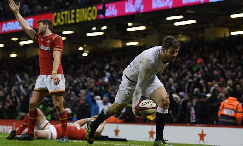 Elliot Daly scores what proved to be the crucial try of the tournament in Cardiff
