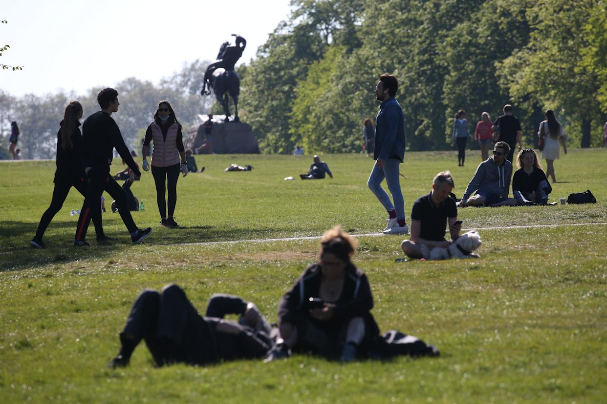People walking and relaxing in Kensington Gardens, London, as the UK continues in lockdown to help curb the spread of the coronavirus. (Photo by Jonathan Brady/PA Images via Getty Images)