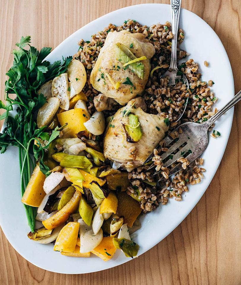 "<p>Maybe the simplest recipe of the bunch, these chicken thighs are cooked in just salt, pepper, and olive oil. With the herbed farro, it's totally addictive. Get the recipe <a rel=""nofollow"" href=""https://brooklynsupper.com/sheet-pan-roasted-chicken-and-vegetables-over-herbed-farro?mbid=synd_yahoofood"">here</a>.</p>"