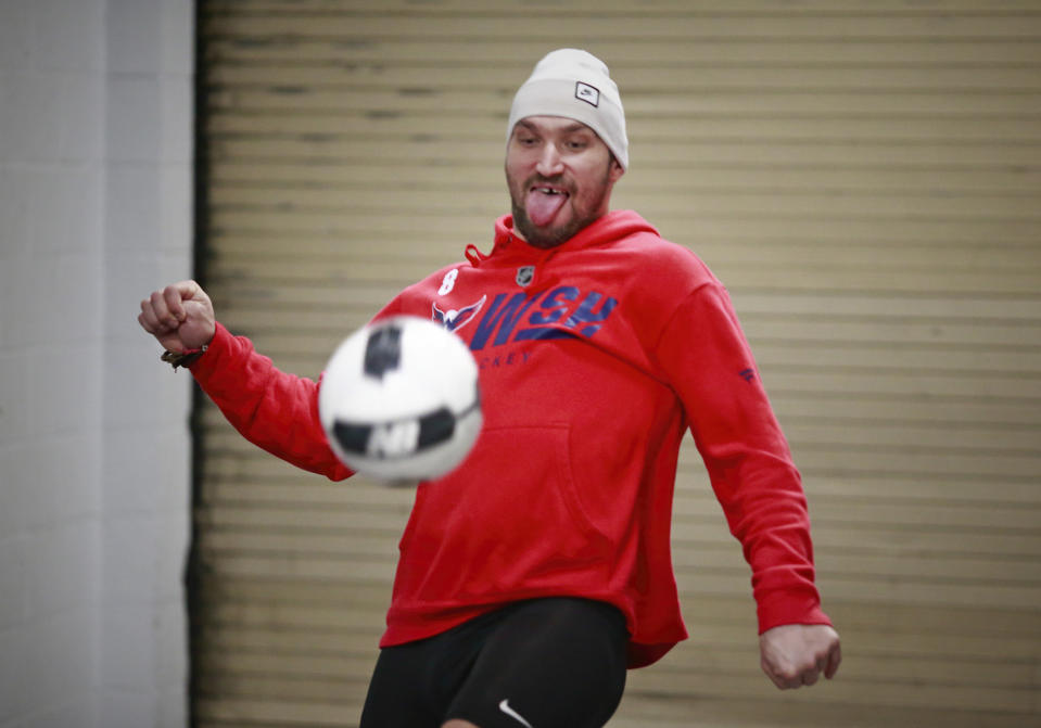 VANCOUVER, BC - OCTOBER 22: Alex Ovechkin #8 of the Washington Capitals plays soccer before their NHL game against the Vancouver Canucks at Rogers Arena October 22, 2018 in Vancouver, British Columbia, Canada.  (Photo by Jeff Vinnick/NHLI via Getty Images)
