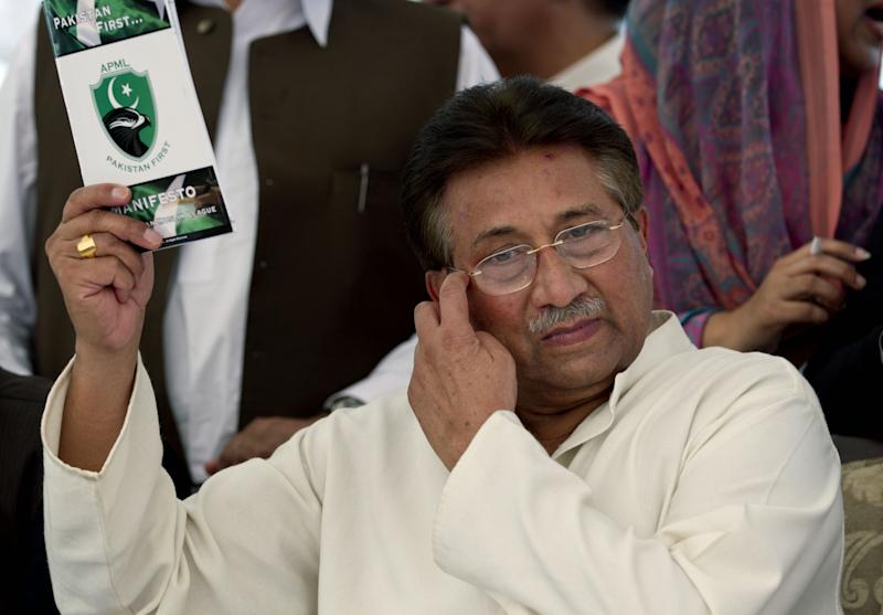 Pakistan's former President and military ruler Pervez Musharraf arrives to present party manifesto leaflets to candidates at his residence in Islamabad, Pakistan, Monday, April 15, 2013. Musharraf's All Pakistan Muslim League APML, party will take part in the upcoming elections scheduled on May 31, 2013. (AP Photo/B.K. Bangash)