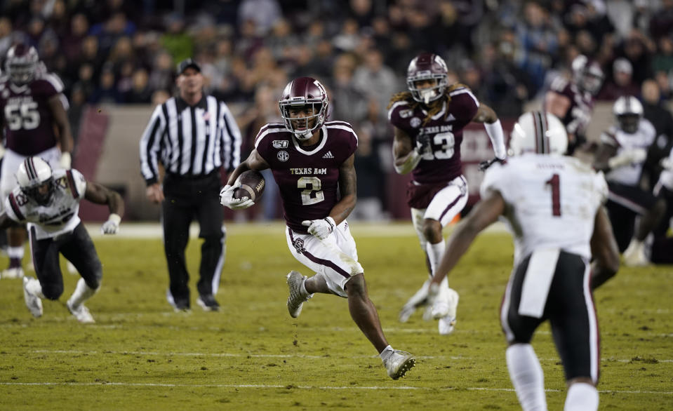 Texas A&M wide receiver Jhamon Ausbon (2) runs after a catch against South Carolina during the second half of an NCAA college football game Saturday, Nov. 16, 2019, in College Station, Texas. (AP Photo/David J. Phillip)