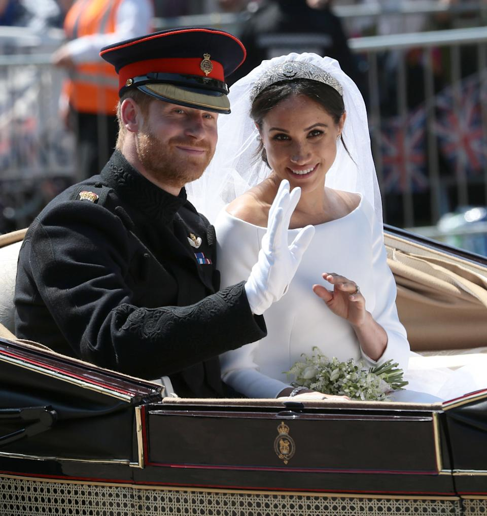 Prince Harry Meghan Markle in a carriage on their wedding day
