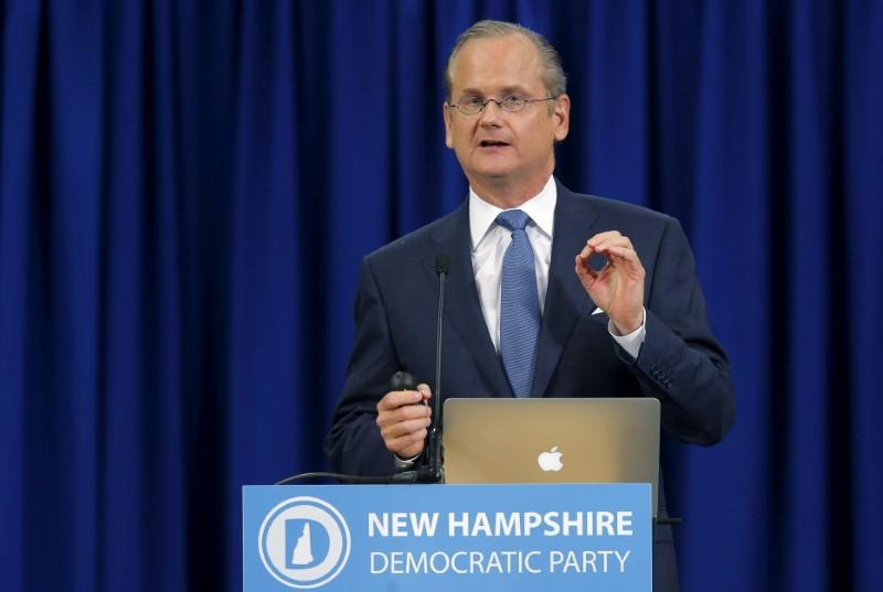 FILE PHOTO: U.S. Democratic presidential candidate Lawrence Lessig speaks at the New Hampshire Democratic Party State Convention in Manchester