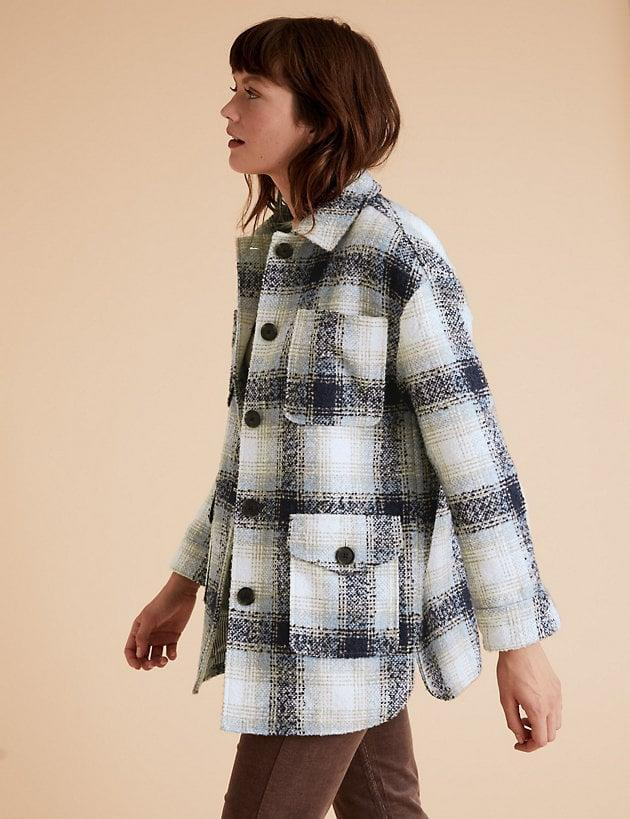 <p>We appreciate all the pockets on this <span>Marks and Spencer Checked Relaxed Shacket</span> ($125).</p>