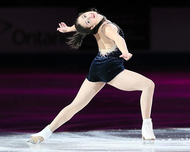 WINDSOR, ON - OCTOBER 28: Kaetlyn Osmond from Canada skates in the Gala Exibition during day three of the 2012 Skate Canada International, ISU Grand Prix of Figure Skating at WFCU Centre on October 28, 2012 in Windsor, Canada. (Photo by Dave Reginek/Getty Images)