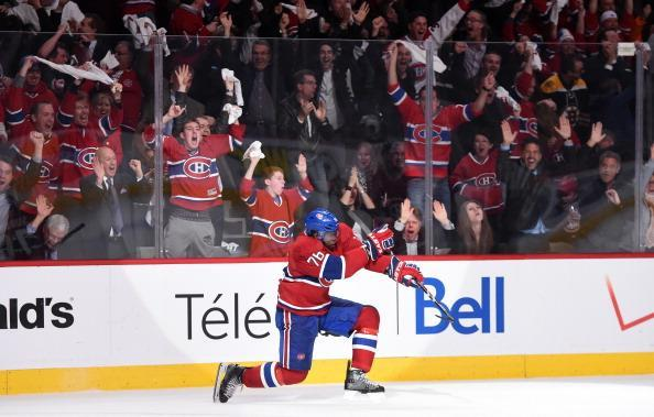 MONTREAL, QC - MAY 6: P.K. Subban #76 of the Montreal Canadiens celebrates after scoring the second goal against the Boston Bruins in the first period in Game Three of the Second Round of the 2014 Stanley Cup Playoffs at the Bell Centre on May 6, 2014 in Montreal, Quebec, Canada. (Photo by Francois Lacasse/NHLI via Getty Images)