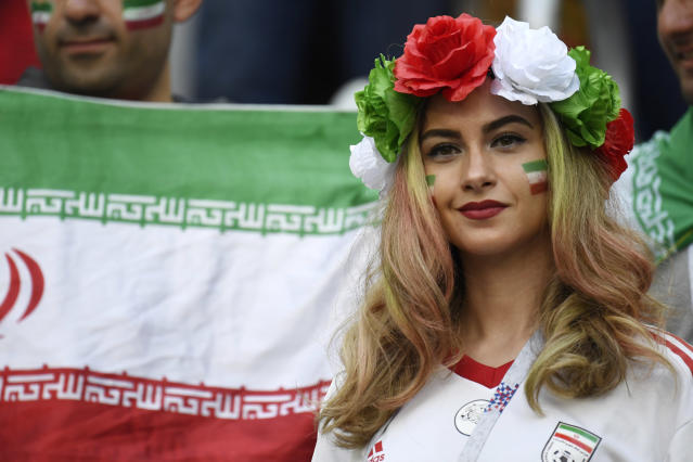 <p>An Iran fan attends the Russia 2018 World Cup Group B football match between Morocco and Iran at the Saint Petersburg Stadium in Saint Petersburg on June 15, 2018. (Photo by CHRISTOPHE SIMON / AFP) </p>