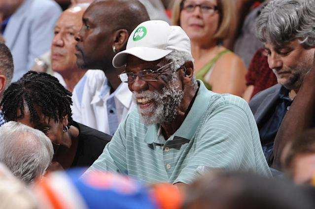 LAS VEGAS, NV - JULY 12: NBA Legend Bill Russell takes in the game of the US Men's Senior National Team against the Dominican Republic during an exhibition game at the Thomas and Mack Center on July 12, 2012 in Las Vegas, Nevada. NOTE TO USER: User expressly acknowledges and agrees that, by downloading and/or using this Photograph, user is consenting to the terms and conditions of the Getty Images License Agreement. Mandatory Copyright Notice: Copyright 2012 NBAE (Photo by Andrew D. Bernstein/NBAE via Getty Images)