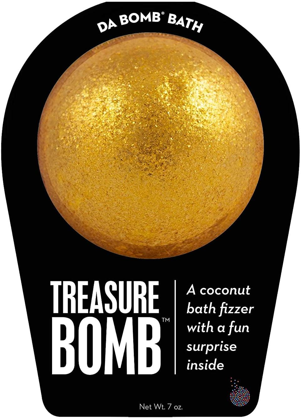 <p>Bath in tub filled with gold and glimmer with this <span>Da Bomb Treasure Bath Gold</span> ($6, originally $8). It has a yummy coconut scent.</p>