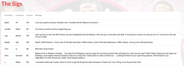 "There are over 500 pages of comments on the ""Kawhi or die"" site. (Source: www.kawhiordie.com)"