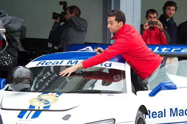 MADRID, SPAIN - NOVEMBER 08: Real Madrid player Alvaro Arbeloa participates during the presentation of Real Madrid's new cars made by Audi at the Jarama racetrack on November 8, 2012 in Madrid, Spain. (Photo by Carlos Alvarez/Getty Images)