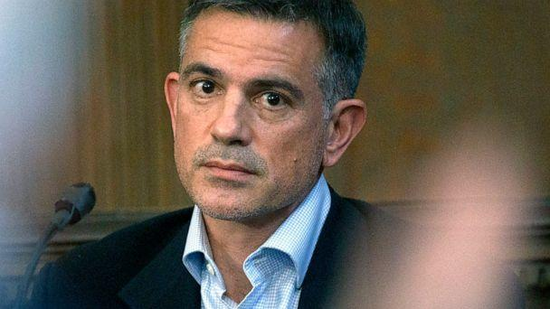 PHOTO: Fotis Dulos, charged with murdering his estranged and missing wife, is questioned during testimony in a civil case at Hartford Superior Court in Hartford, Conn., Dec. 4, 2019. (Mark Mirko/AP, FILE)