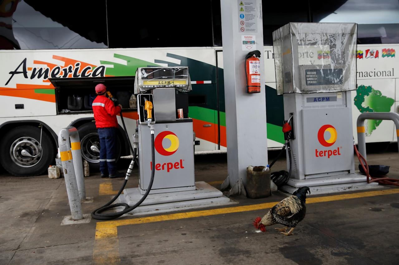 "A gas station worker pumps fuel into a Rutas de America bus as a chicken looks for food, near Pamplona, Colombia, November 8, 2017. Carlos Garcia Rawlins: ""We stopped to refuel the bus and although the passengers did not get off except those who urgently needed to use the restrooms, I had agreed with the driver that I would get off at every opportunity to take pictures. This time, there was a chicken pecking at the gas station floor in search of food and creating a peculiar scene, almost something out of the Latin American magic realism"". REUTERS/Carlos Garcia Rawlins  SEARCH ""RAWLINS BUS"" FOR THIS STORY. SEARCH ""WIDER IMAGE"" FOR ALL STORIES."