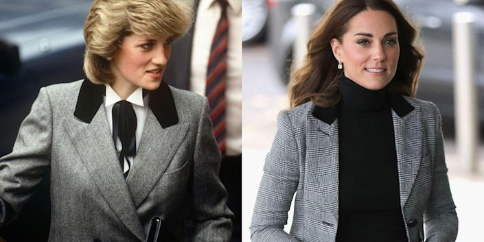 <p>Diana, visiting Barnados Children's Charity on November 8, 1984; Kate in a Smythe blazer during her visit to Coach Core in Essex on October 30, 2018.</p>