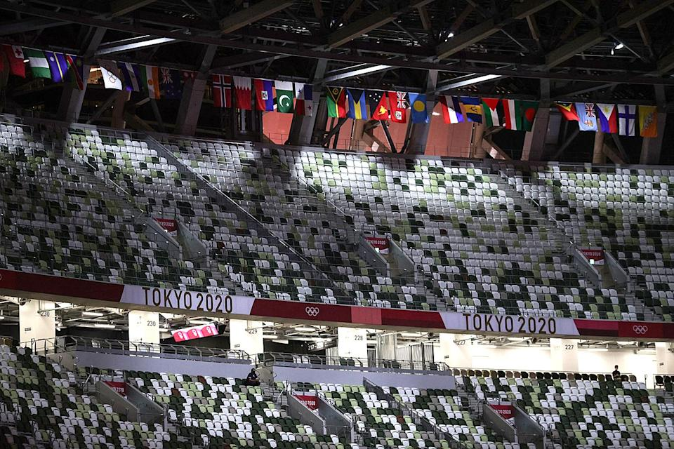 <p>Most of the arena was left empty, with no spectators allowed other than members of the press.</p>