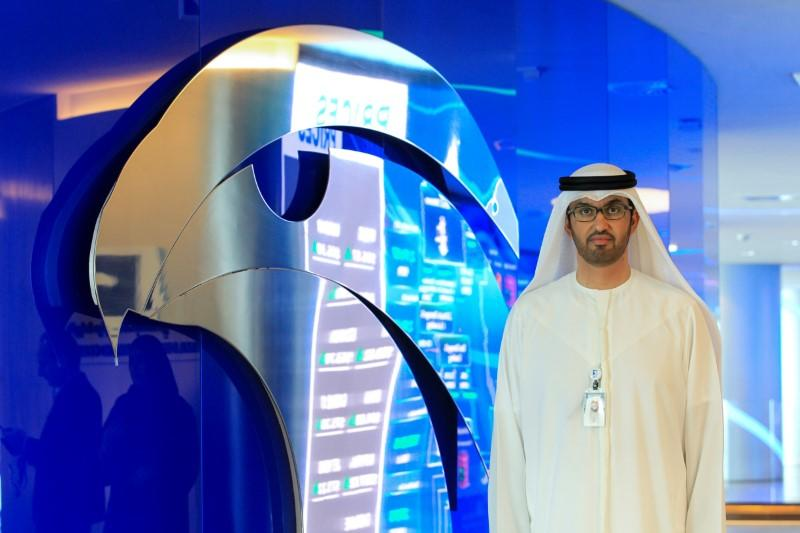 Sultan Ahmed Al Jaber, UAE Minister of State and the Abu Dhabi National Oil Company (ADNOC) Group CEO poses during the interview at the Panorama Digital Command Centre at the ADNOC headquarters in Abu Dhabi