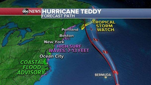 PHOTO: Teddy is also expected to make landfall in Nova Scotia on Wednesday with tropical storm force winds. (ABC News)
