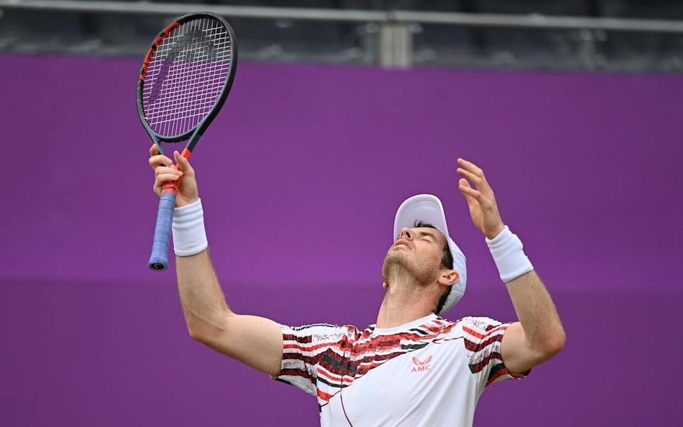 Andy Murray of Great Britain reacts during his Round of 16 match against Matteo Berrettini of Italy during Day 4 of The cinch Championships at The Queen's Club on June 17, 2021 in London, England. - GETTY IMAGES