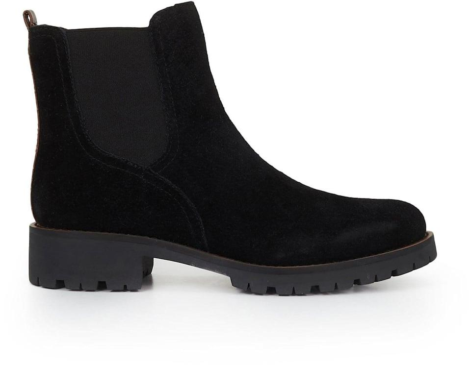 <p>These black suede <span>Sam Edelman Jaclyn Waterproof Chelsea Bootie</span> ($150) are so awesome.</p>