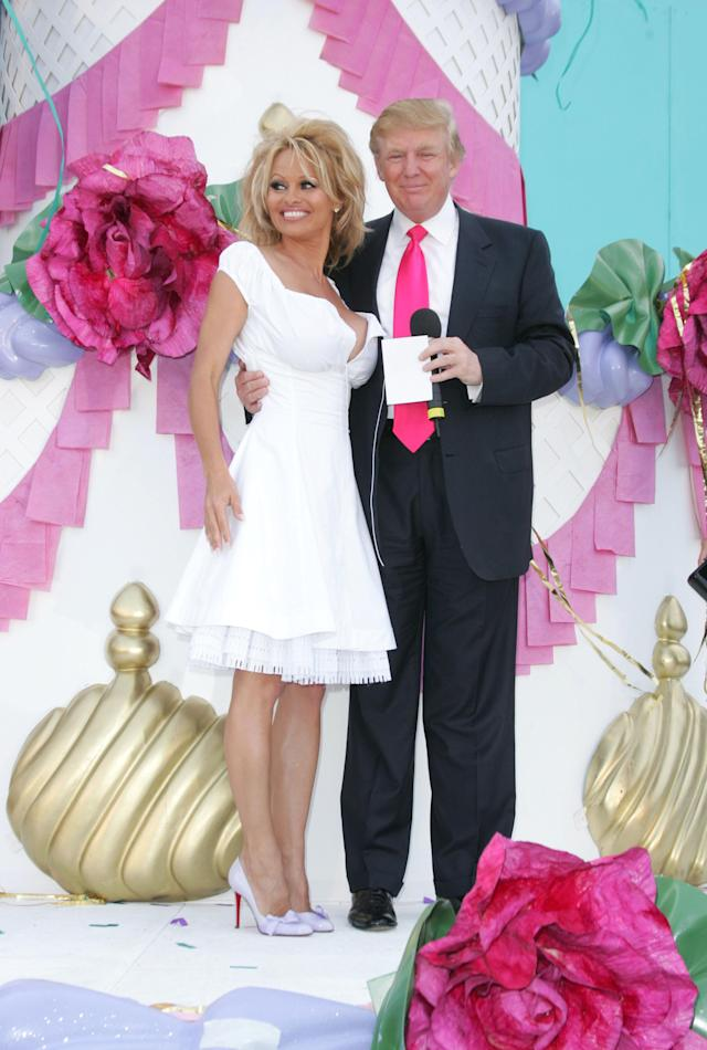 Pamela Anderson and Donald Trump in 2005. (Photo: Getty Images)