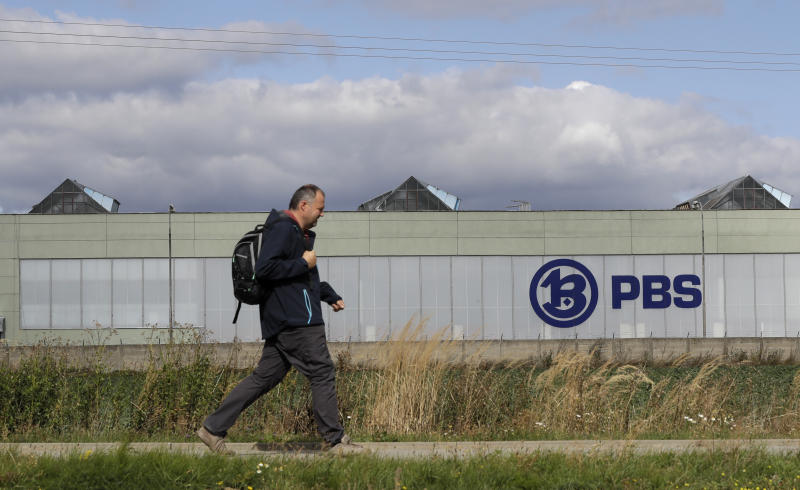 Exterior view of the PBS factory in Velka Bites, Czech Republic, Thursday, Sept. 19, 2019. Small engines built by Czech firm PBS Aerospace are believed to have been used in an attack last weekend that targeted the heart of Saudi Arabia's oil industry. (AP Photo/Petr David Josek)