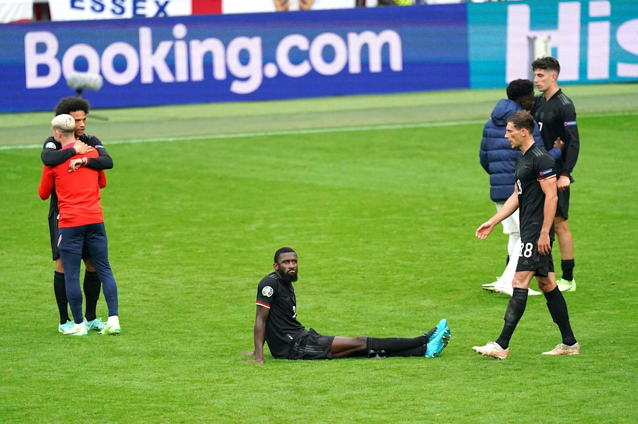 Germany's Antonio Rudiger reacts after defeat after the final whistle during the UEFA Euro 2020 round of 16 match at Wembley Stadium, London. Picture date: Tuesday June 29, 2021.