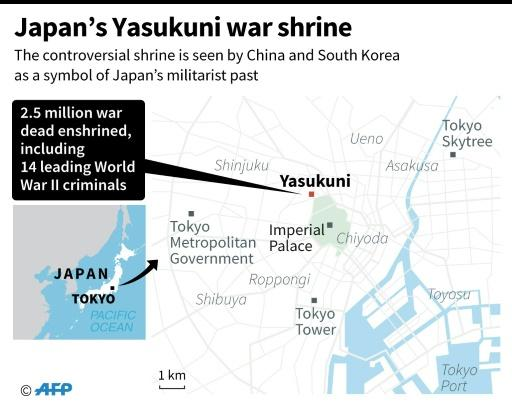 Map showing the controversial Yasukuni war shrine in the Japanese capital