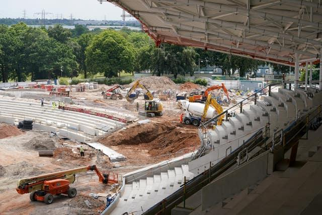 Building work takes place for the brand new stand under construction at Alexander Stadium