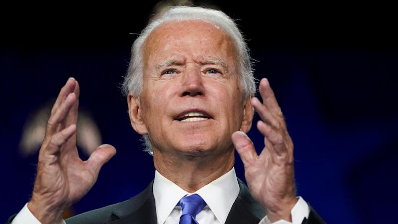Former U.S. Vice President Joe Biden accepts the 2020 Democratic presidential nomination during a speech delivered for the largely virtual 2020 Democratic National Convention from the Chase Center in Wilmington, Delaware on August 20, 2020. (Kevin Lamarque/Reuters)