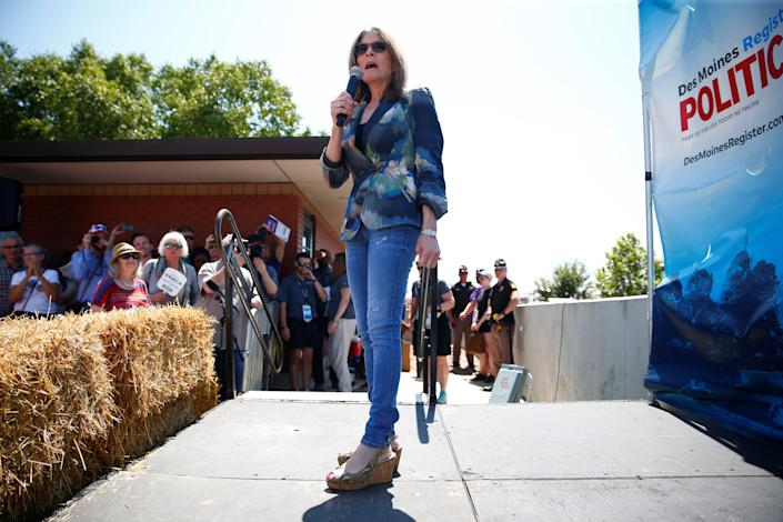 Democratic presidential candidate and author Marianne Williamson speaks at the Iowa State Fair in Des Moines in August. (Photo: Eric Thayer/Reuters)