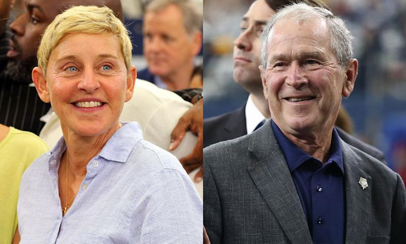 Ellen and former president George W Bush