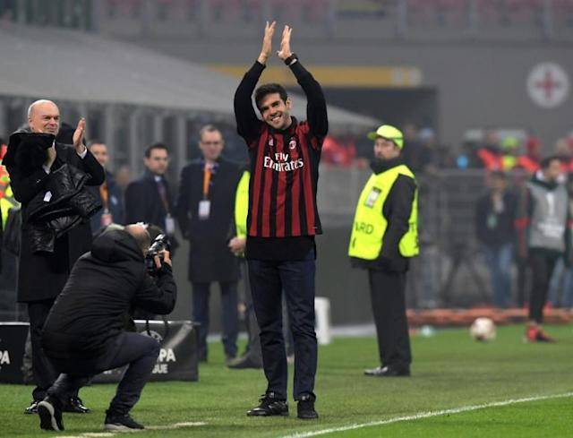 Former AC Milan player Kaka greets fans during the UEFA Europa League group D football match between AC Milan and FK Austria-Wiendur at the San Siro stadium in Milan on November 23, 2017