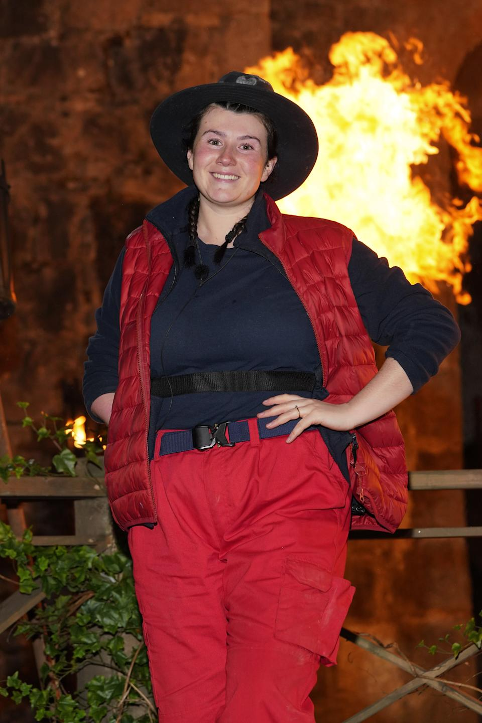 Hollie Arnold poses outside the I'm A Celebrity castle (Photo: Kieron McCarron/ITV/Shutterstock)