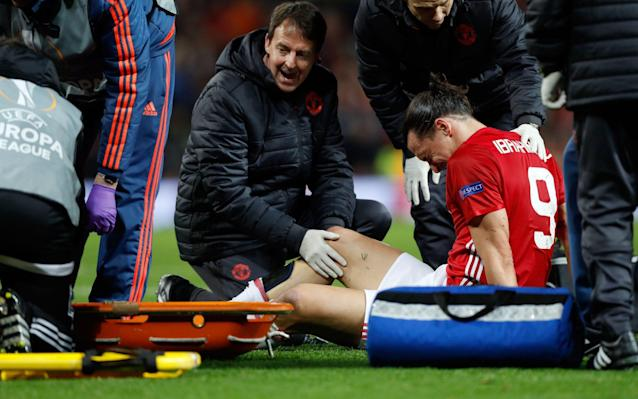 <span>Manchester United's Zlatan Ibrahimovic receives treatment for an injury sustained during Thursday night's Europa League tie against Anderlecht </span> <span>Credit: PA </span>
