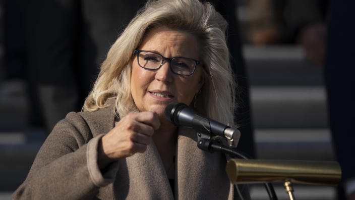 Rep. Liz Cheney (R-WY) speaks during a news conference with fellow House Republicans outside the U.S. Capitol December 10, 2020 in Washington, DC. (Drew Angerer/Getty Images)
