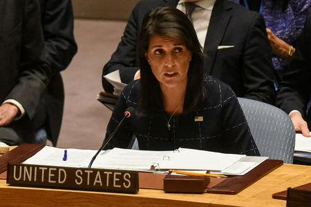 FILE PHOTO: U.S. Ambassador to the UN, Nikki Haley, delivers remarks during a United Nations Security Council meeting on North Korea in New York City, U.S., September 11, 2017. REUTERS/Stephanie Keith/File Photo
