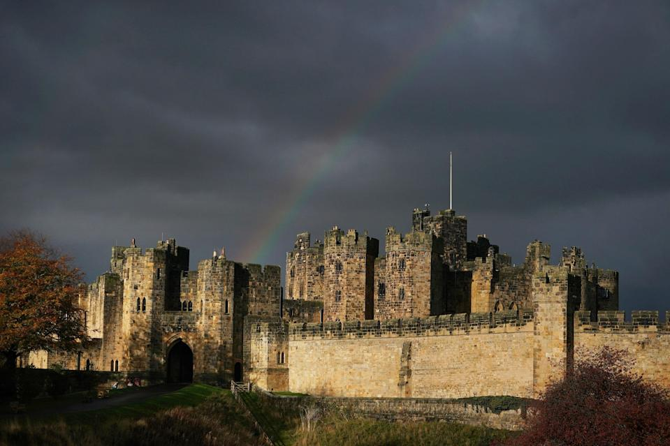 <p>A rainbow over Alnwick castle in Northumberland during the first cold snap of the season </p>