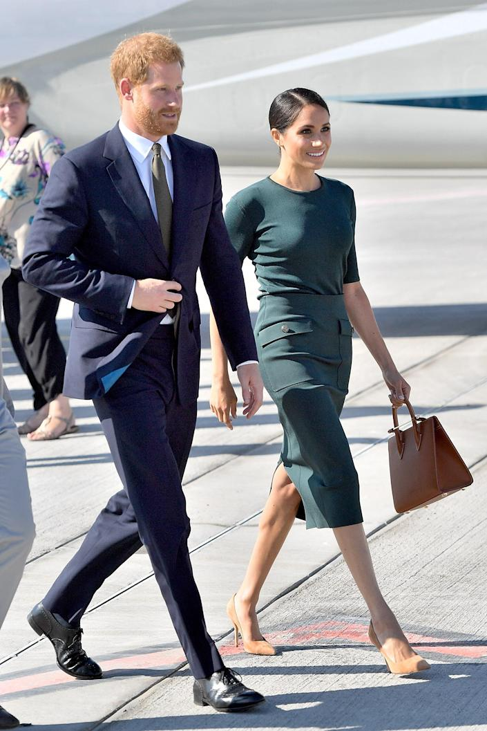 """<div class=""""caption""""> Harry, Duke of Sussex and Meghan, Duchess of Sussex arrive at Dublin Airport for their visit to Ireland on July 10, 2018. </div> <cite class=""""credit"""">Samir Hussein</cite>"""
