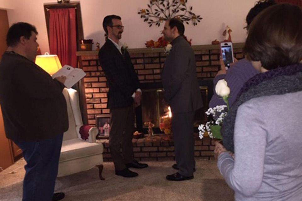 """<p>Sometimes an intimate ceremony is best. """"My husband and I just celebrated 15 years together and four years of marriage. My best friend who is a Lutheran minister married us in an impromptu wedding in his mom's living room,"""" Ara said.<br></p>"""