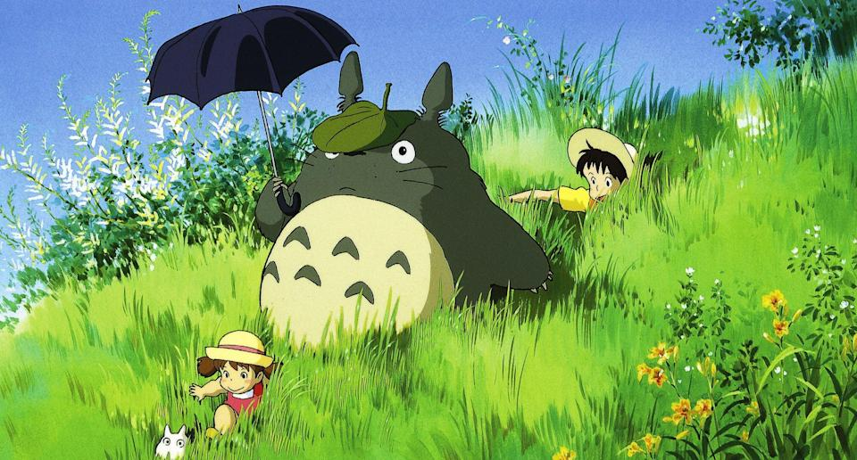 """<p><strong>HBO Max's Description:</strong> """"When Satsuki and her sister Mei move with their father to a new home in the countryside, they find country life is not as simple as it seems. They soon discover that the house and nearby woods are full of strange and delightful creatures, including a gigantic but gentle forest spirit called Totoro, who can only be seen by children. Totoro and his friends introduce the girls to a series of adventures, including a ride aboard the extraordinary Cat Bus, in this all-ages animated masterpiece.""""</p> <p><a href=""""https://play.hbomax.com/feature/urn:hbo:feature:GXrHaagZAIKu9KwEAAAAm"""" class=""""link rapid-noclick-resp"""" rel=""""nofollow noopener"""" target=""""_blank"""" data-ylk=""""slk:Watch My Neighbor Totoro on HBO Max here!"""">Watch <strong>My Neighbor Totoro</strong> on HBO Max here!</a></p>"""