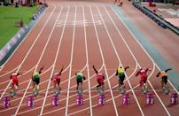 """<p>While shoes are almost always wore by athletes competing in <a href=""""https://slate.com/human-interest/2015/08/barefoot-running-are-pro-track-and-field-athletes-required-to-wear-shoes.html"""" rel=""""nofollow noopener"""" target=""""_blank"""" data-ylk=""""slk:track and field"""" class=""""link rapid-noclick-resp"""">track and field </a>events, they're not required. But there are rules about the shoes. </p>"""